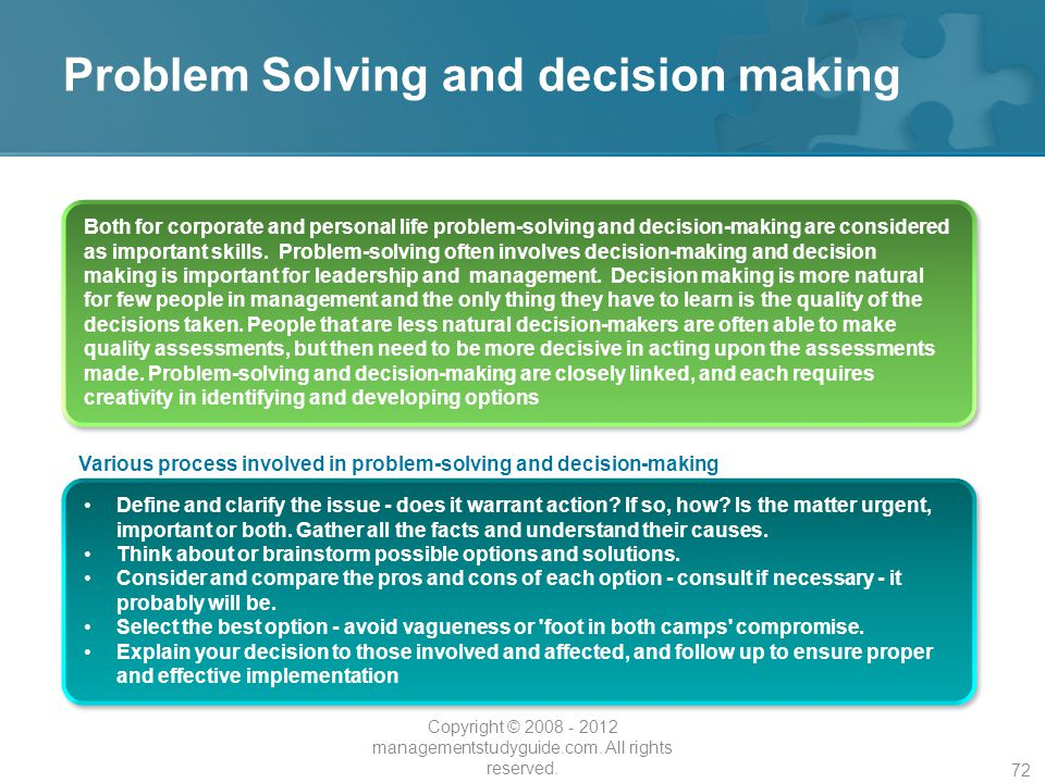 solving problems and making decisions Improving your own decision-making process starts with learning from other successful problem solving examples in the workplace.