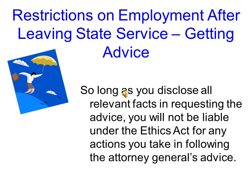 Restrictions on Employment After Leaving State Service – Getting Advice