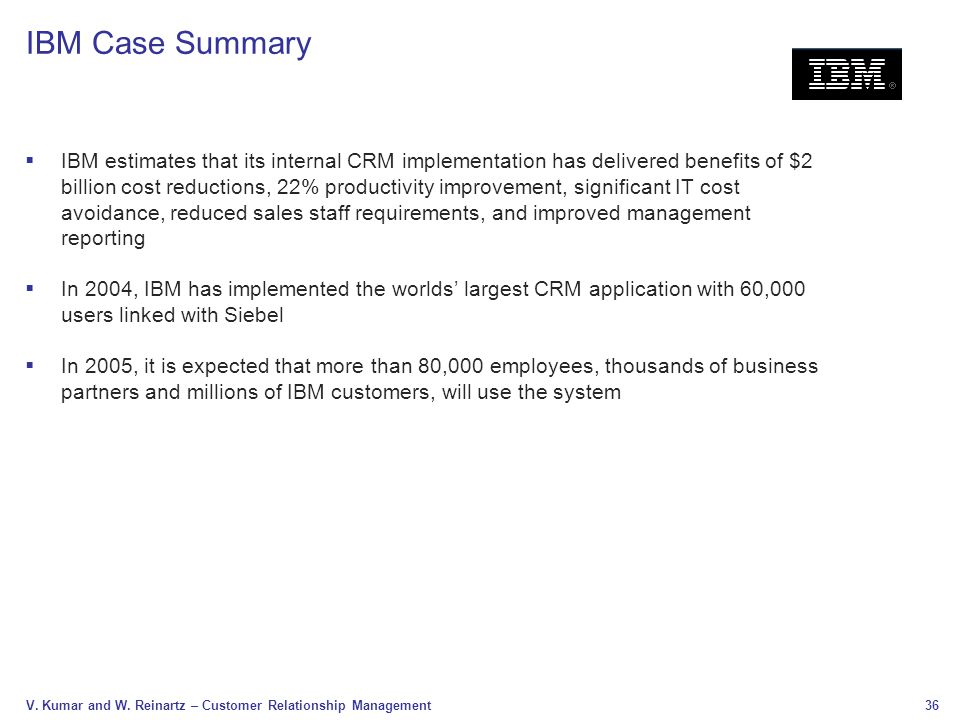 Literature review of crm project of ibm | Essay Example