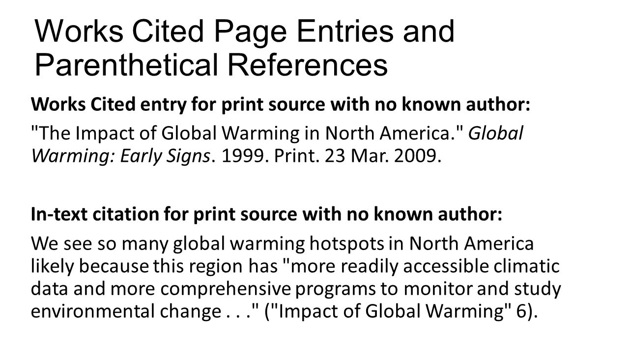 Works Cited Page Entries And Parenthetical References Intext Citations For  Print Sources With No Known Author