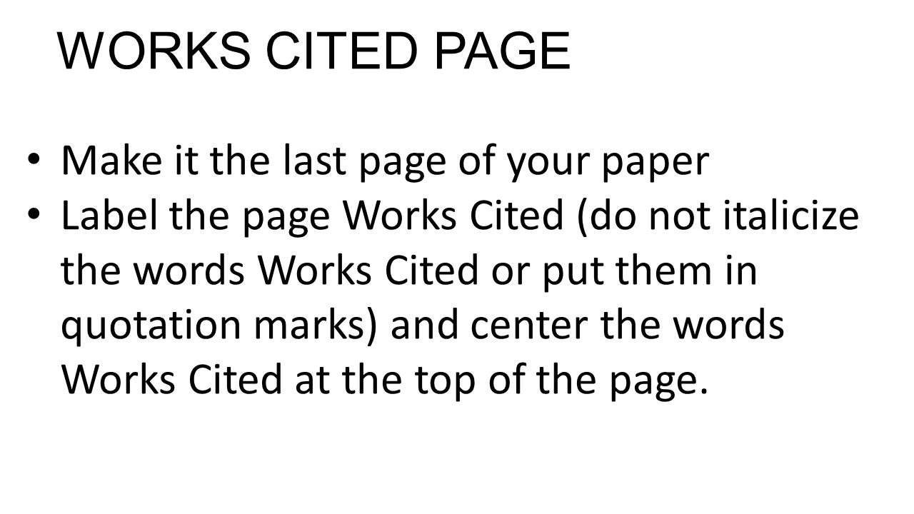 works cited page How to write a works cited page student success tool  student success tool: how to write a works cited 2.