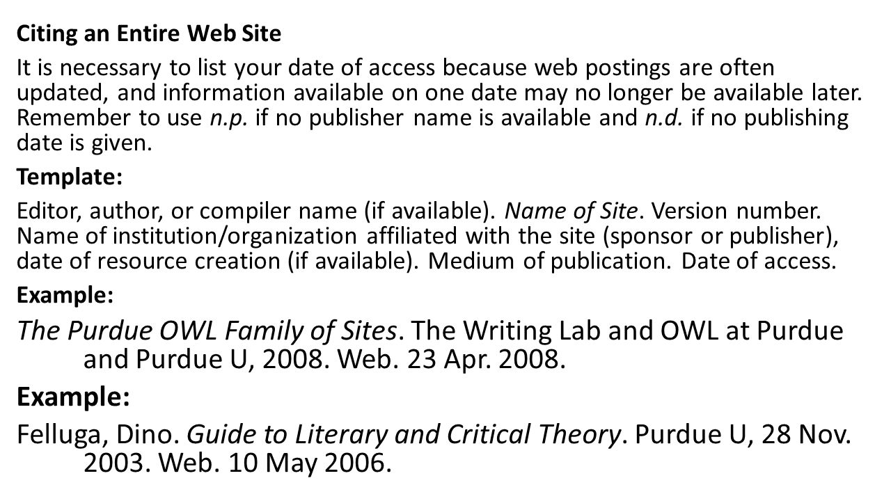 Citing an Entire Web Site