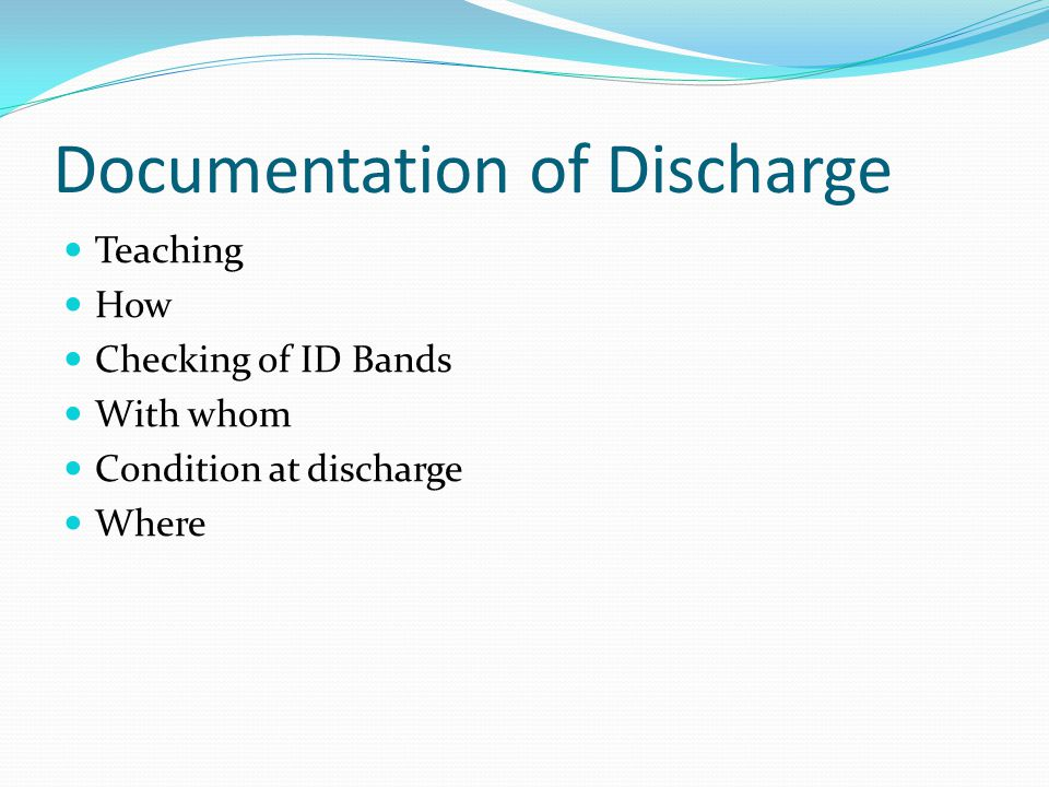 Documentation of Discharge