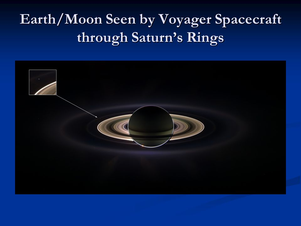 Earth/Moon Seen by Voyager Spacecraft through Saturn's Rings