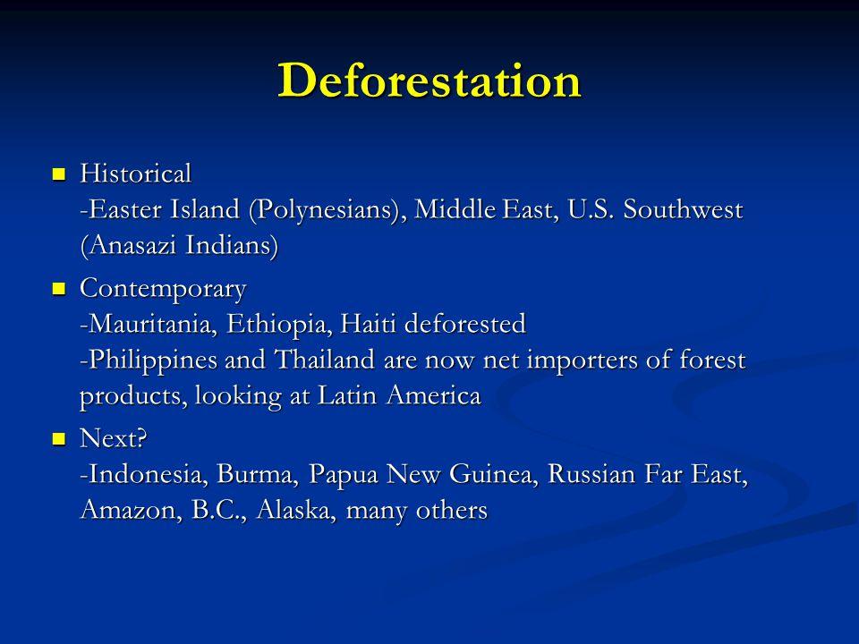 Deforestation Historical -Easter Island (Polynesians), Middle East, U.S. Southwest (Anasazi Indians)