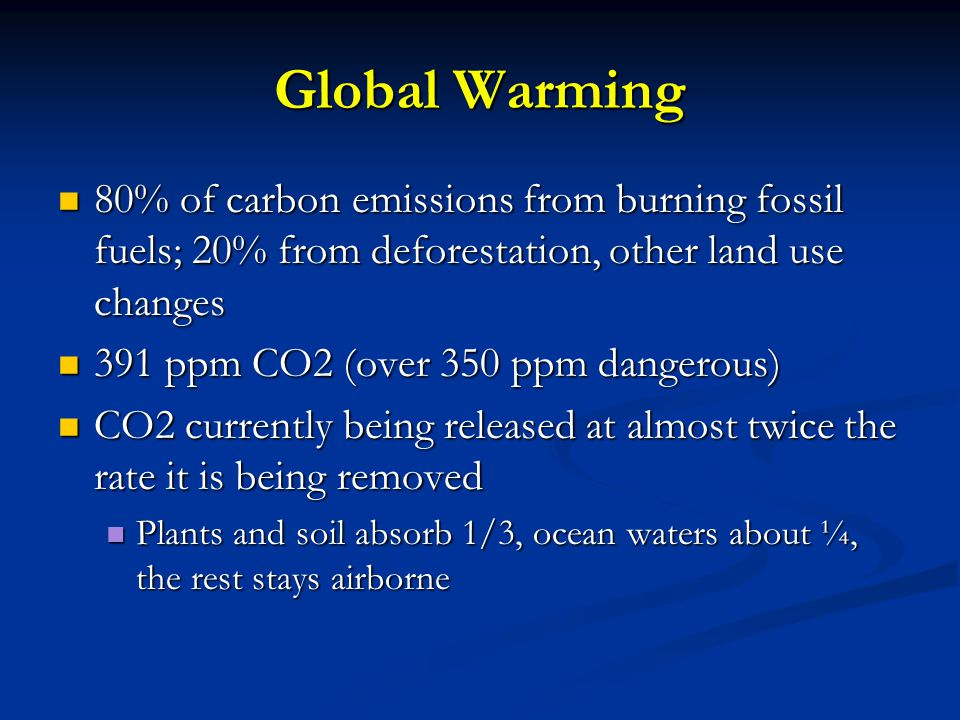 Global Warming 80% of carbon emissions from burning fossil fuels; 20% from deforestation, other land use changes.