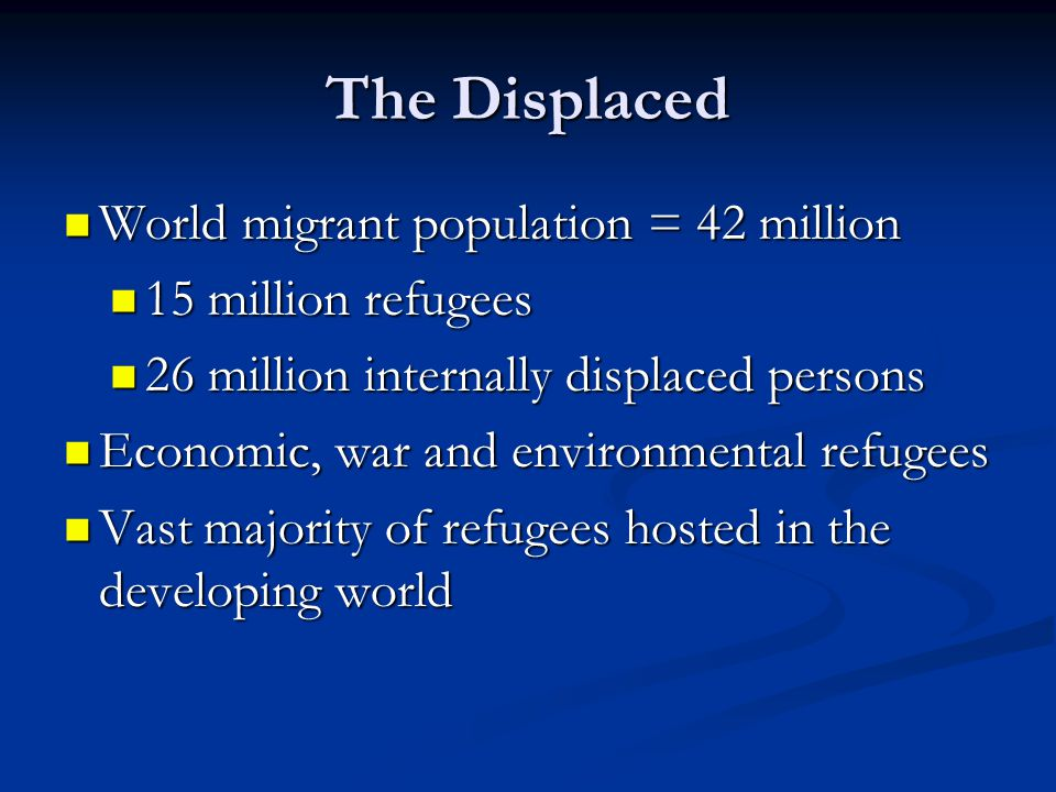 The Displaced World migrant population = 42 million