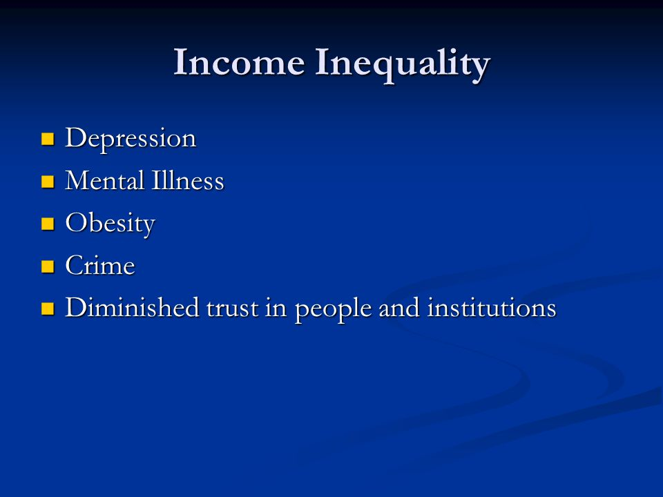 Income Inequality Depression Mental Illness Obesity Crime