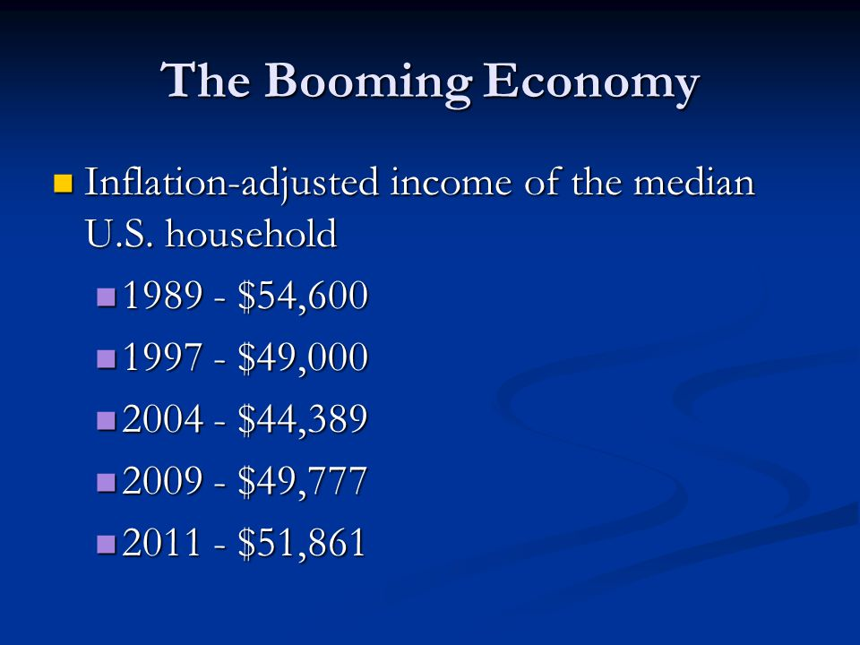 The Booming Economy Inflation-adjusted income of the median U.S. household $54, $49,000.