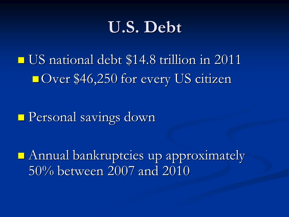 U.S. Debt US national debt $14.8 trillion in 2011