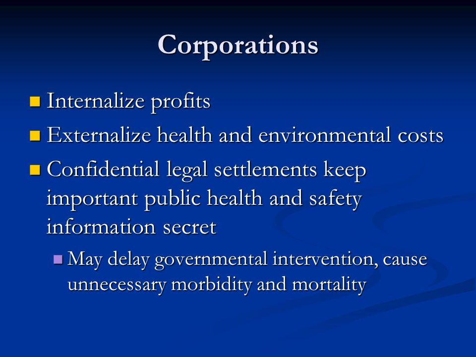 Corporations Internalize profits