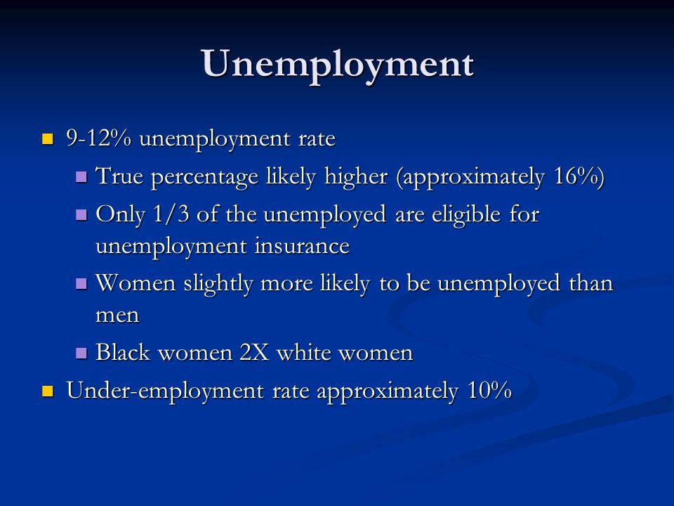 Unemployment 9-12% unemployment rate