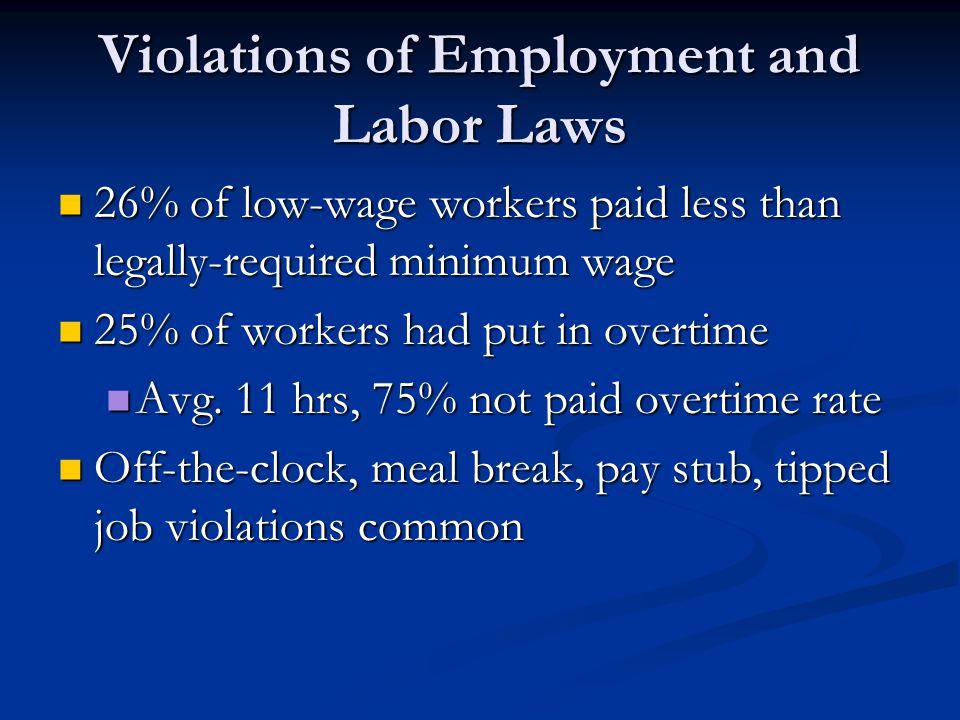 Violations of Employment and Labor Laws