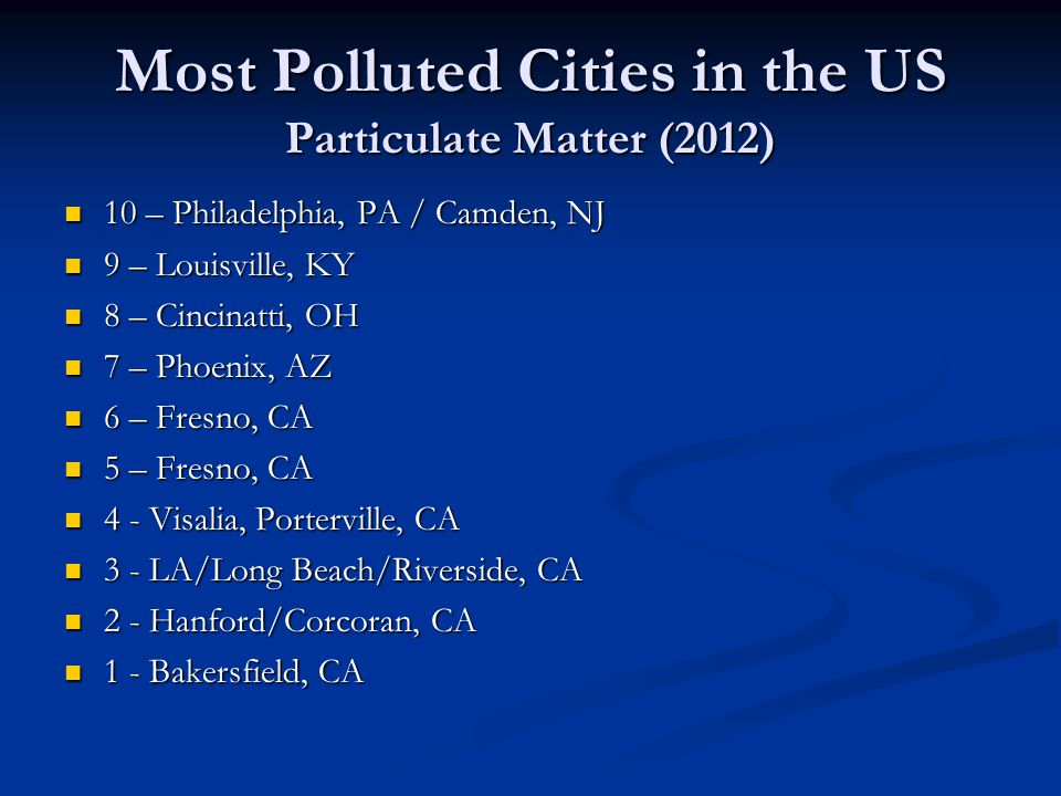 Most Polluted Cities in the US Particulate Matter (2012)
