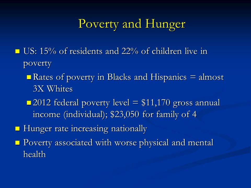 Poverty and Hunger US: 15% of residents and 22% of children live in poverty. Rates of poverty in Blacks and Hispanics = almost 3X Whites.
