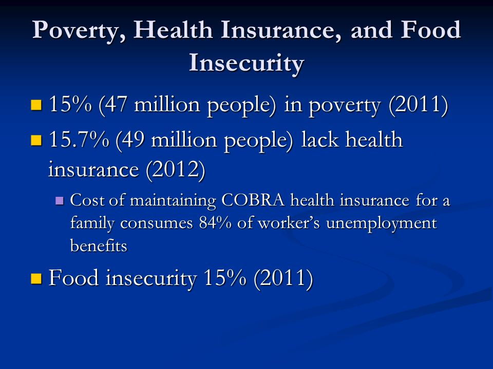 Poverty, Health Insurance, and Food Insecurity