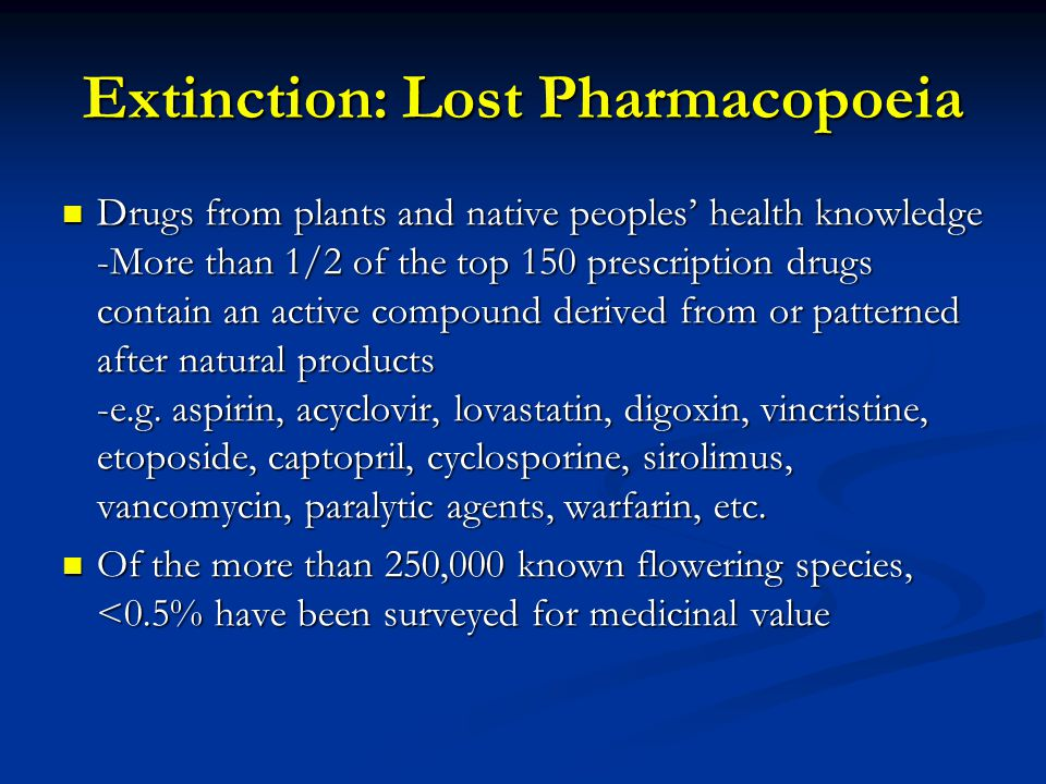 Extinction: Lost Pharmacopoeia