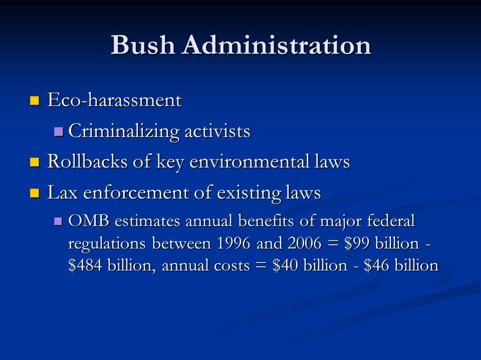 Bush Administration Eco-harassment Criminalizing activists