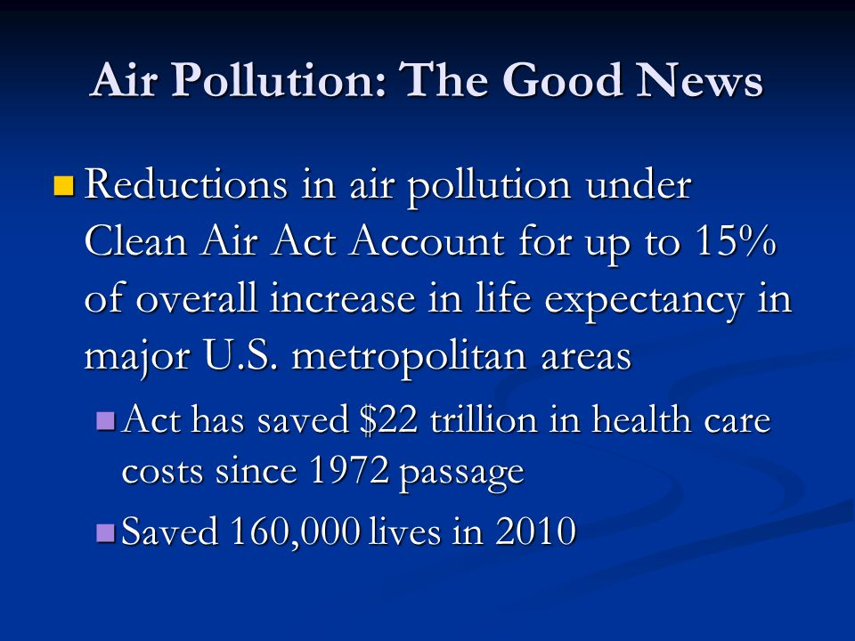Air Pollution: The Good News