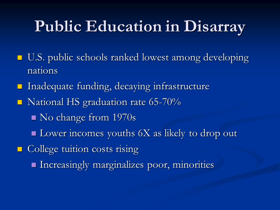 Public Education in Disarray