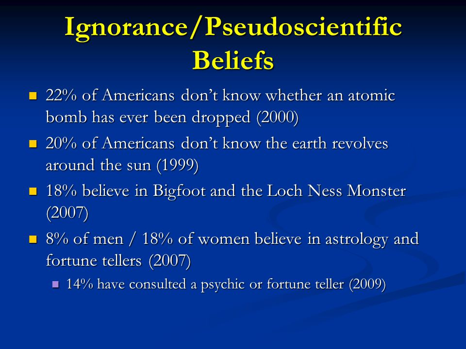 Ignorance/Pseudoscientific Beliefs