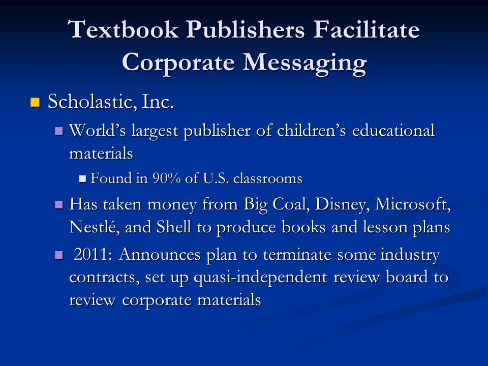 Textbook Publishers Facilitate Corporate Messaging