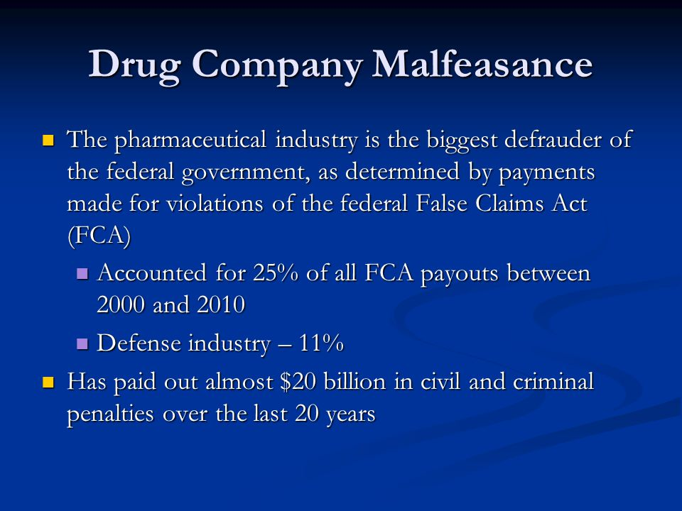 Drug Company Malfeasance
