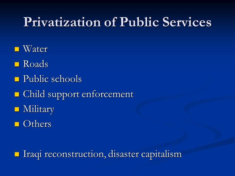 Privatization of Public Services