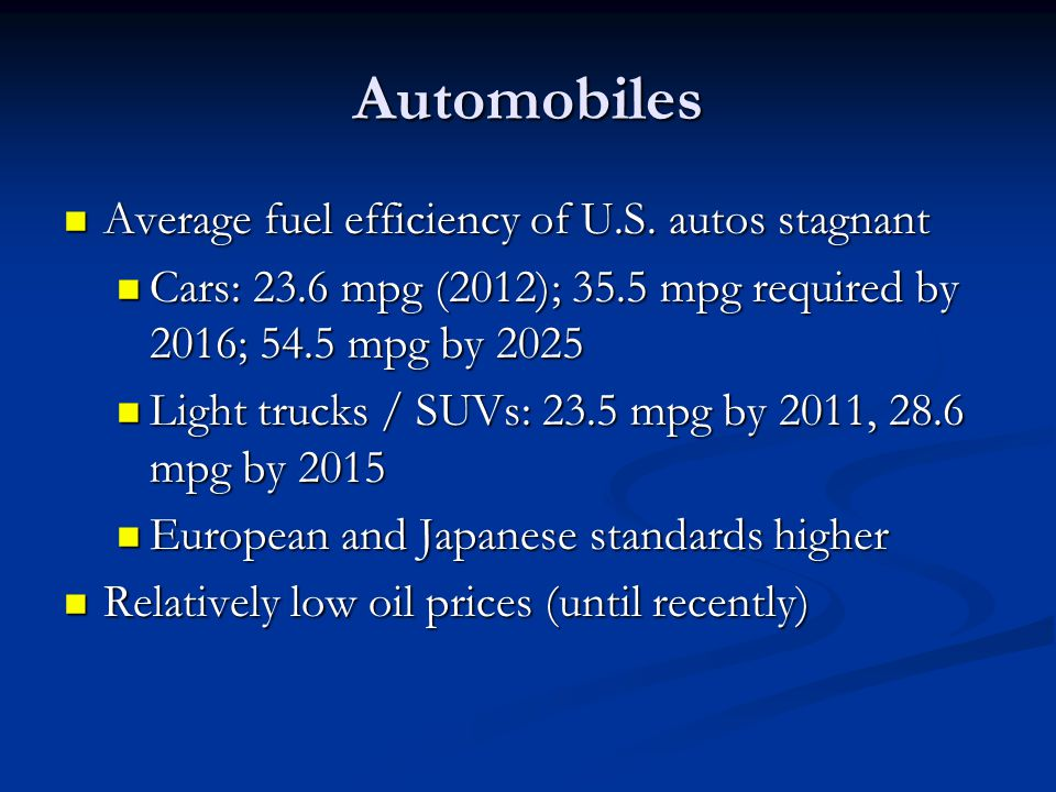 Automobiles Average fuel efficiency of U.S. autos stagnant