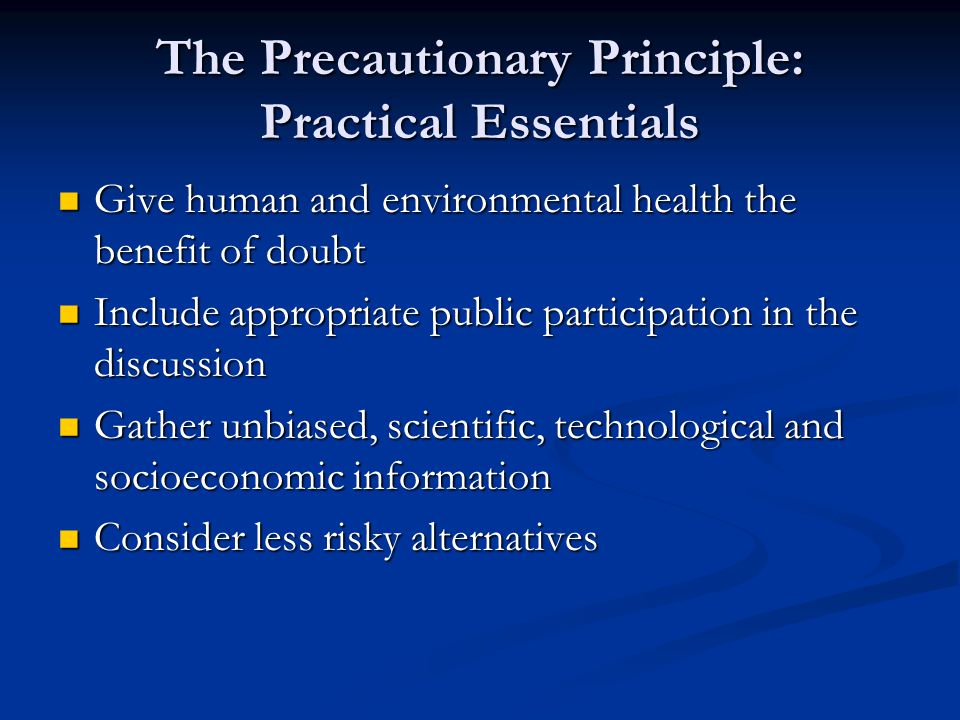 The Precautionary Principle: Practical Essentials