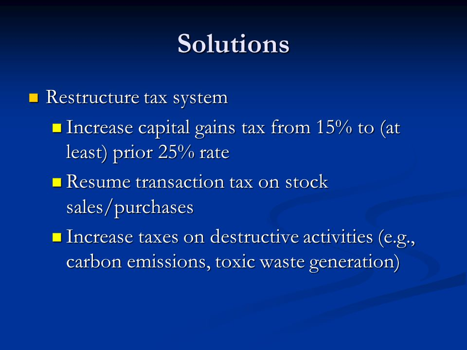 Solutions Restructure tax system
