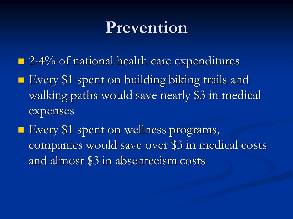 Prevention 2-4% of national health care expenditures