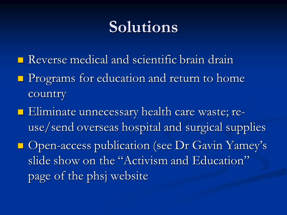 Solutions Reverse medical and scientific brain drain
