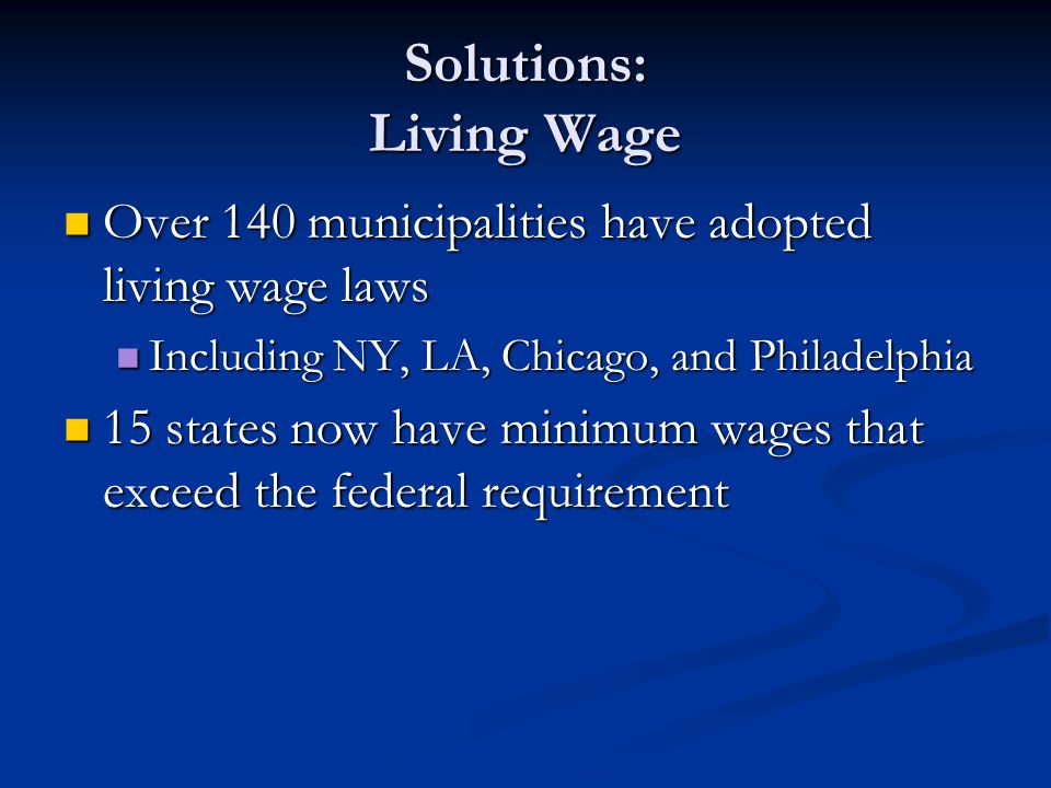 Solutions: Living Wage
