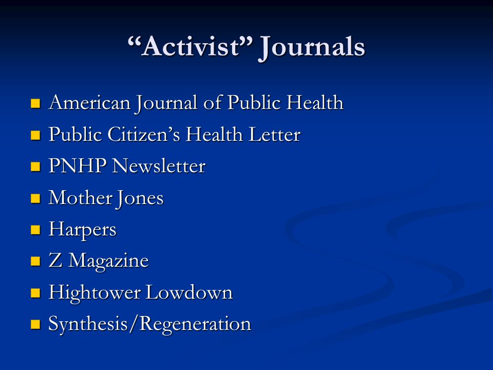 Activist Journals American Journal of Public Health