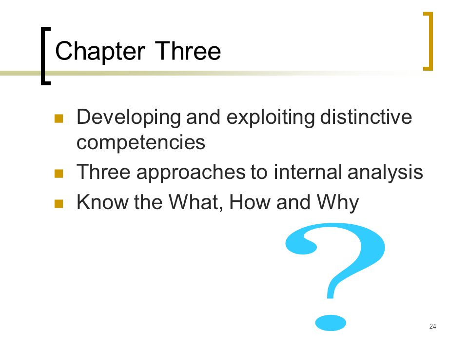 Chapter Three Developing and exploiting distinctive competencies