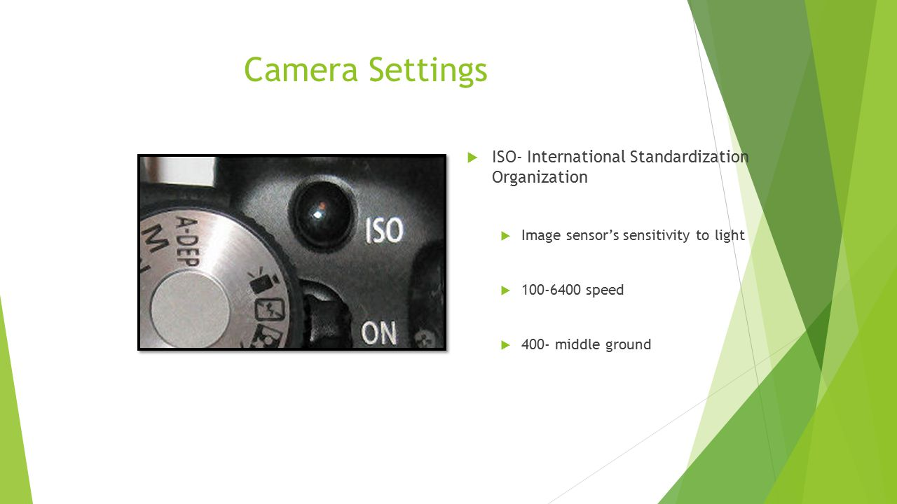 Camera Settings ISO- International Standardization Organization