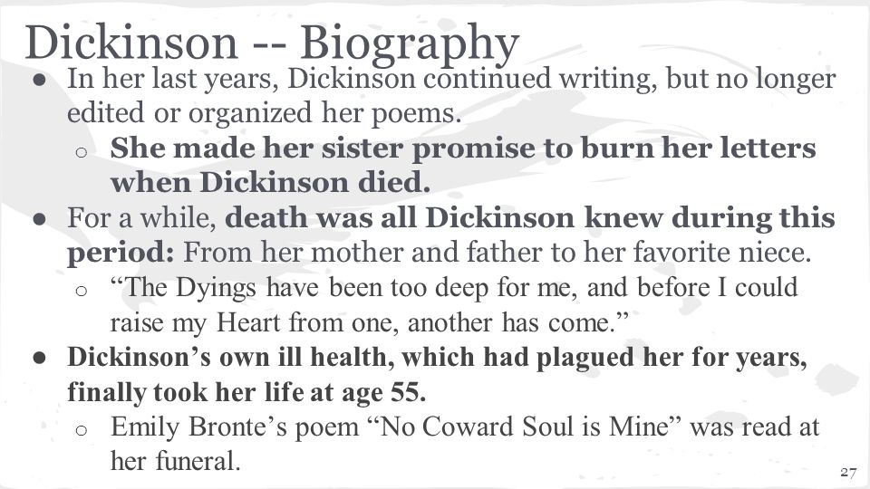 emily dickinson the last night that she lived essay Poetry essay 3/5/2002 emily dickinson the title the last night that she lived already hints us about the emily elizabeth dickinson was born on.