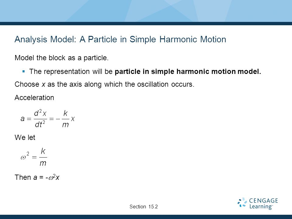 Analysis Model: A Particle in Simple Harmonic Motion