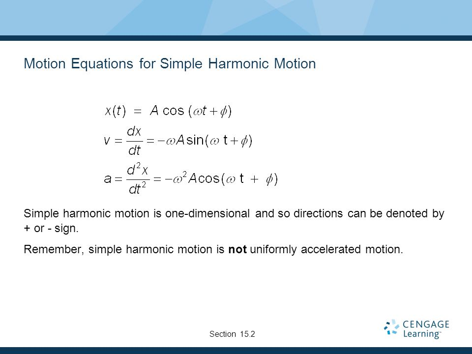 Motion Equations for Simple Harmonic Motion
