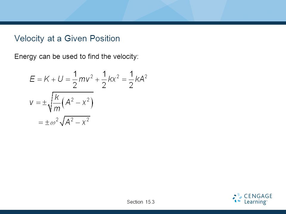 Velocity at a Given Position
