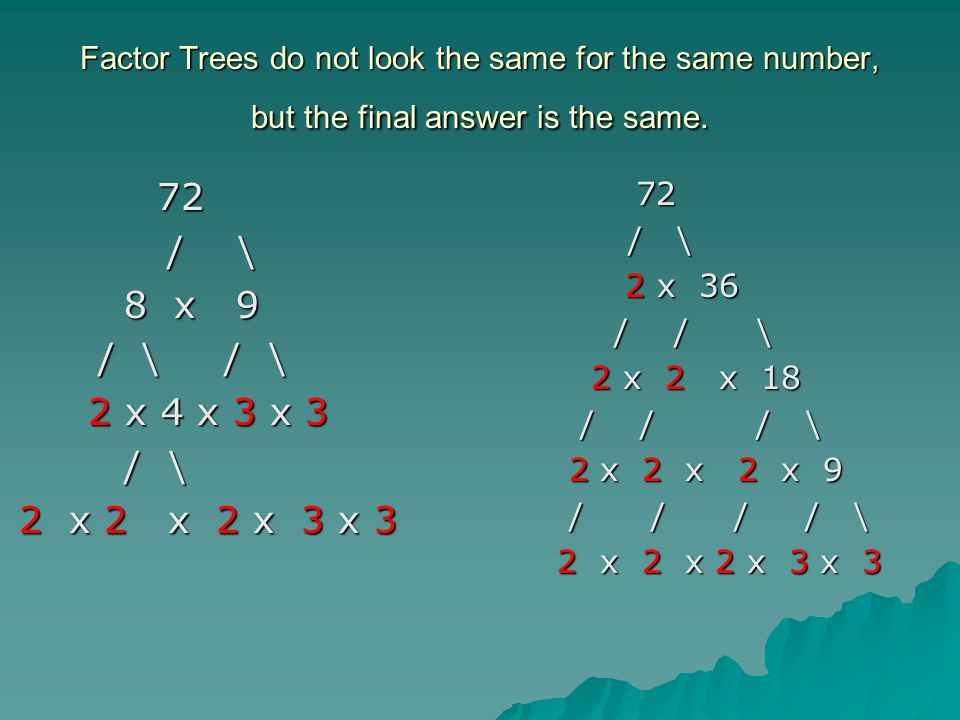how to find gcf with factor tree