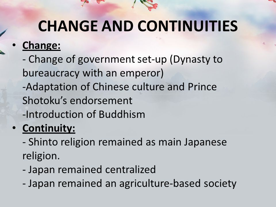 change and continuity in china Question 2—continuity/change over time basic core  change or continuity across the majority of the time period  classical india with rome and china.