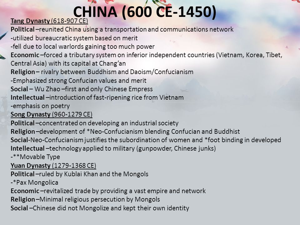 changes continuities 600 1450 china