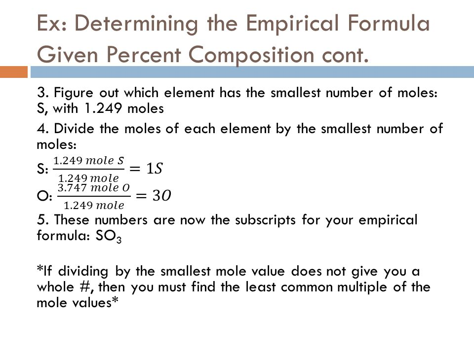 Percent composition and chemical formulas ppt video online download ex determining the empirical formula given percent composition cont ccuart Images