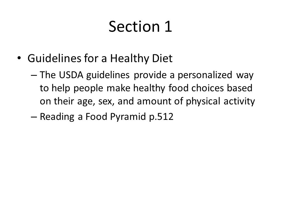 Section 1 Guidelines for a Healthy Diet