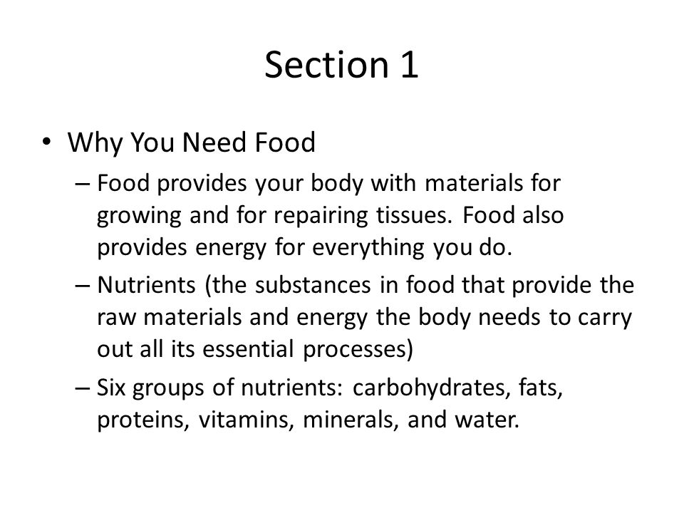 Section 1 Why You Need Food