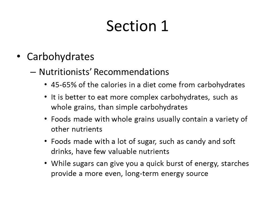 Section 1 Carbohydrates Nutritionists' Recommendations