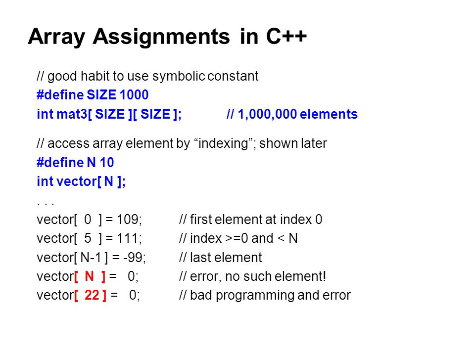 how to use constants in arrays c