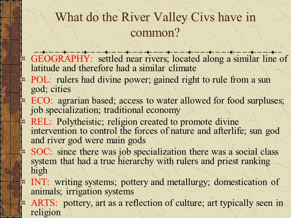 What do the River Valley Civs have in common